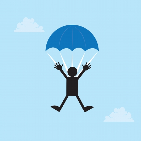 skydive: Figure falling from the sky with a parachute  Illustration
