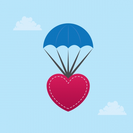 hang gliding: Heart parachuting down from the sky  Illustration