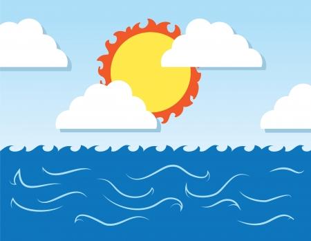 거친 파도 바다 장면 큰 태양