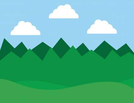 Forest with hills and clouds  Stock Vector - 19731850