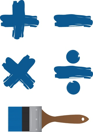 subtraction: Paintbrush with painted math symbols