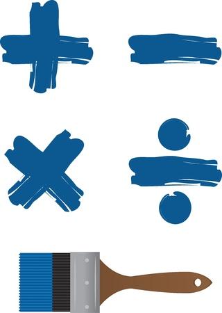 addition: Paintbrush with painted math symbols