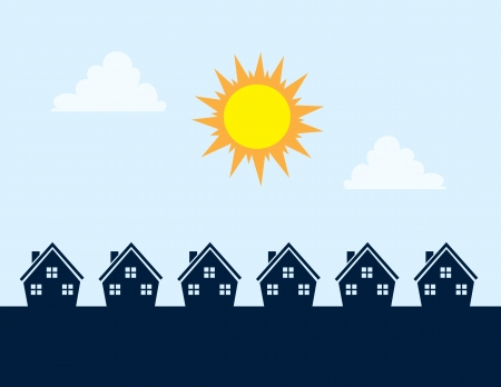 Houses Silhouettes during the day with sun