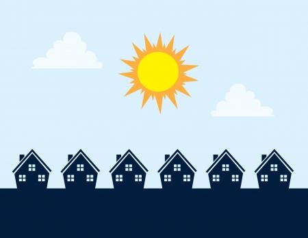 Huizen Silhouetten gedurende de dag met zon Stock Illustratie
