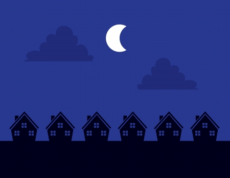 Houses Silhouettes at night with moon Stock Vector - 19731931