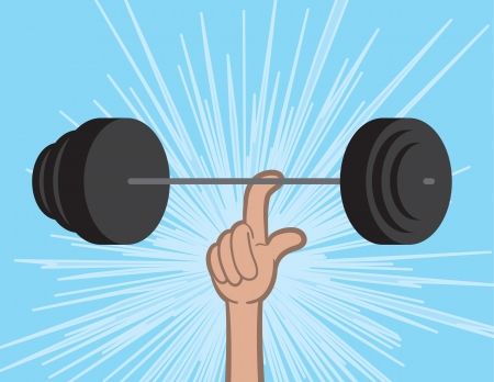 heavy weight: Weights held up by single finger  Illustration