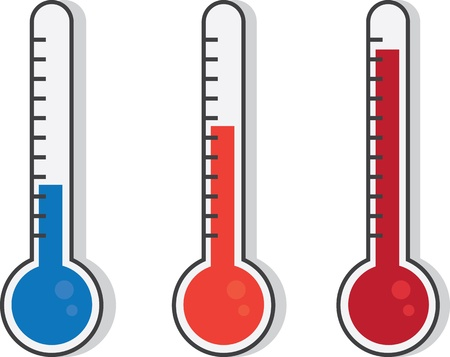 hotter: Isolated thermometers in different colors  Illustration