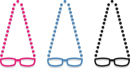 geeky: Plastic framed glasses with chain