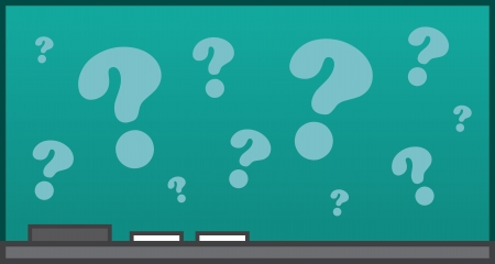 school class: Isolated chalkboard with question marks