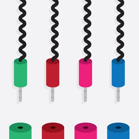 Various electronic plugs in different colors  Stock Illustratie