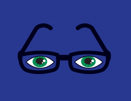 nerdy: Plastic framed glasses with eyes and purple background
