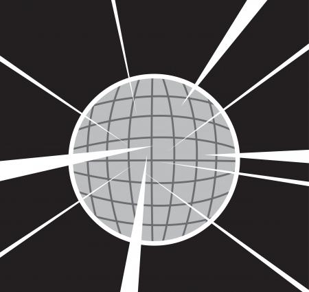 Disco ball reflecting light in dark room