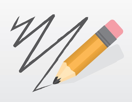 Grote potlood gekrabbel een lijn Stock Illustratie