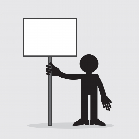 Silhouette figure holding up a blank sign  Stock Vector - 19895125
