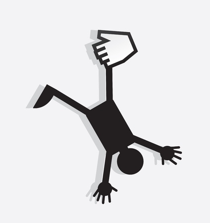 Figure hanging from a digital hand  Vector
