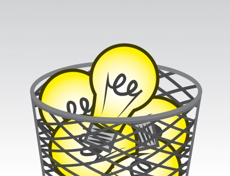 metal light bulb icon: Garbage filled with many light bulbs