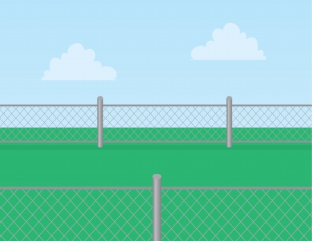 prison yard: Chain linked fence in grassy field   Illustration