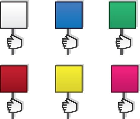 様々 な色で空白記号を持っている手  イラスト・ベクター素材