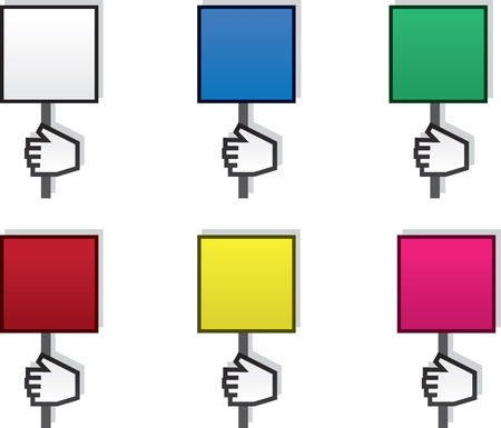 Hand holding blank sign in various colors