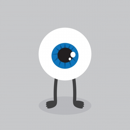 contact lens: Eyeball character with feet standing