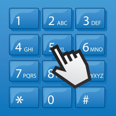 Blue phone dial pad with digital pointer hand Stock Vector - 19895148