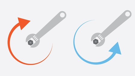 Isolated wrench tightening or loosening  Vector