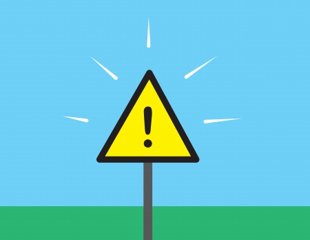 Yellow caution sign outside in the grass Stock Vector - 20140542