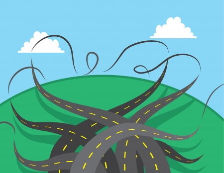 Roads twisting and turning in vaus directions  Stock Vector - 20140558
