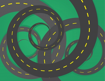 choose a path: Spiraled roads on top of one another