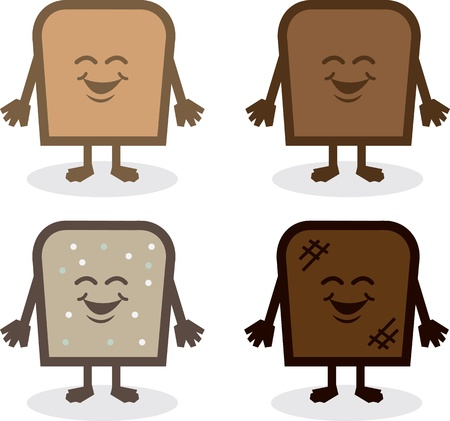 toasted bread: Various bread characters. White, wheat, seed and toasted.
