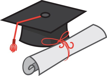 Isolated graduation hat with diploma Stock Vector - 20140549