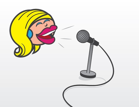 Floating woman s head talking or singing into microphone