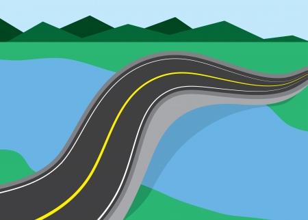 bridged: Long road bridged over river
