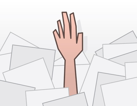 stack of files: Single hand reaching from pile of papers  Illustration