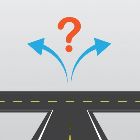 choose a path: Road with left and right arrows