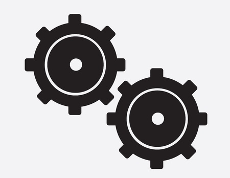 interlock: Large isolated black gears silhouette   Illustration