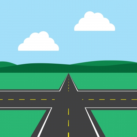 straight path: Road intersection with sky background  Illustration