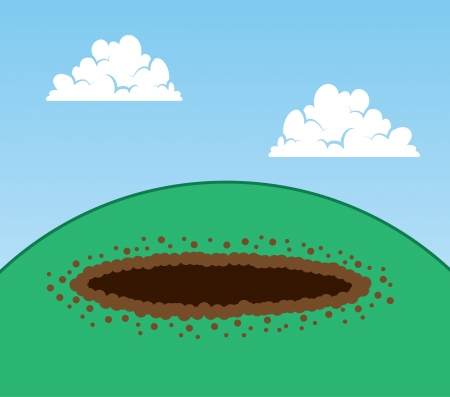 void: Dug hole on top of a hill