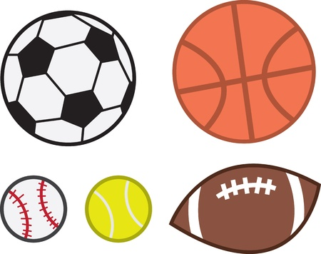 touchdown: Sports balls for football, baseball, soccer, tennis and basketball.