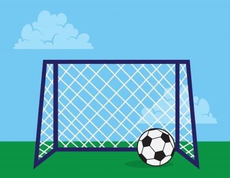 soccer net: Soccer net outside with soccer ball