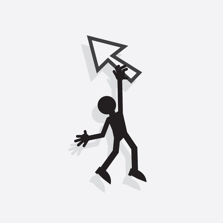 stumble: Silhouette figure hanging from digital pointer arrow