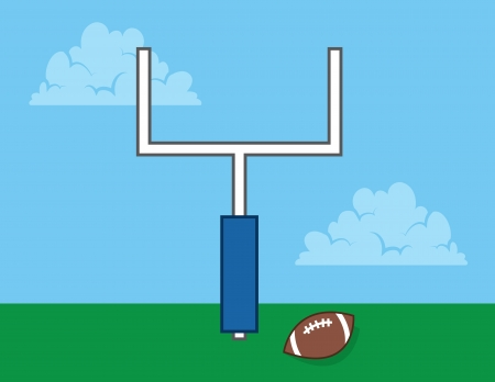 goal post: Football in field with goal post