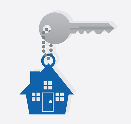 keyring: Key with house icon on a chain