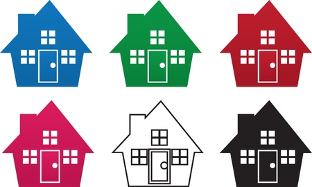 House silhouettes in various colors
