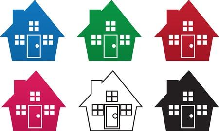 Huis silhouetten in verschillende kleuren