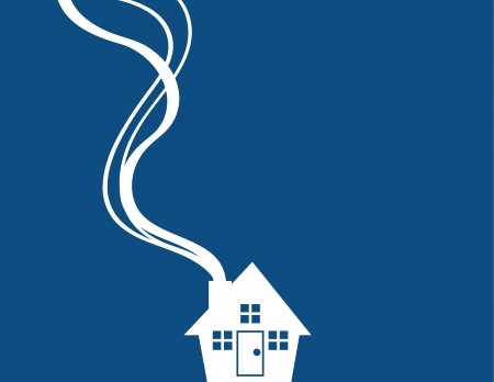 Minimal blue house with smoke coming from chimney  Illustration