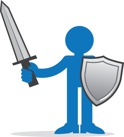 Blue figure holding sword and shield Stock Vector - 20335420