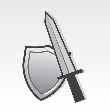 reject: Sword and shield resting against one another  Illustration