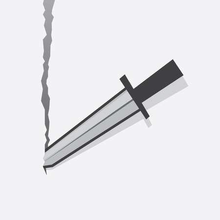 Sword tearing through sheet of paper background  Ilustração