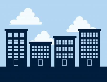 青い空を背景のアパートの建物のシルエット
